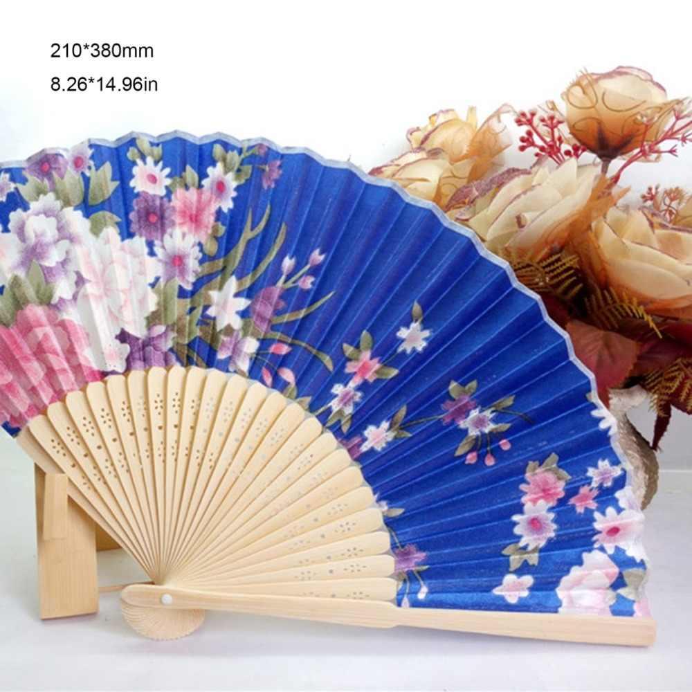 Portátil Ventilador de Mão Ventilador de Dobramento Japonês Novo Chinês Estilo das Mulheres Bonitas Cetim Fã com Armação De Bambu Verão Fresco presente