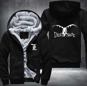 New Winter Jackets and Coats Death Note hoodie Anime Hooded Thick Zipper Men cardigan Sweatshirts USA Size