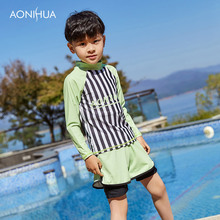 AONIHUA Children Sport Swimwear 2-12 Years Baby Boy Swimsuit Kids For Clothes Clothing Long Sleeve Shorts 1036
