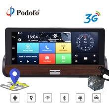 Podofo 3g 7 «автомобильный dvr двойной объектив камера gps навигация wifi Android 5,0 сенсорный экран DashCam видео рекордер с камерой заднего вида