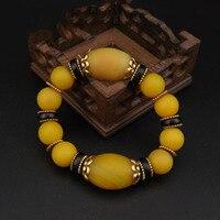 עתיק טבעי אבן ישנה צהוב/ma נאו תכשיטי צמיד גברים ונשים משלוח חינם