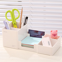 Korea Multifunctional Plastic Pen Holder 25 11 9cm Office School Student Stationery Desk Organizer Holder Set