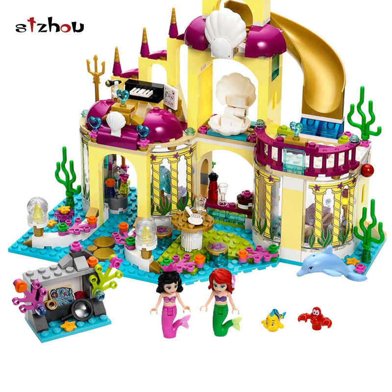 Stzhou 10436 402pcs Ariel's Undersea Palace Building Bricks Blocks Toys Girl House Compatible with Legoe Princess Mermaid stzhou 10164 659pcs compatiable with legoe friends olivia s house building bricks blocks toys for children girl game castle gift