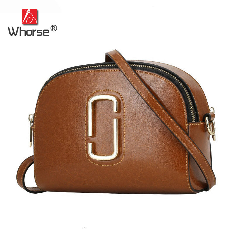 WHORSE Brand Logo High capacity Casual Style Genuine Leather Women Shoulder Tote
