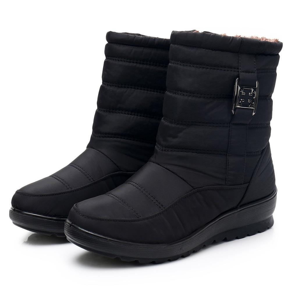 c906166237dc Femelle Femmes Bottes Femme Moyen Neige Noir Chaud Boot Botte Nouveau Zapatos  Chaussures Chaudes marron rouge D âge De Mujer Occasionnel Cheville ...