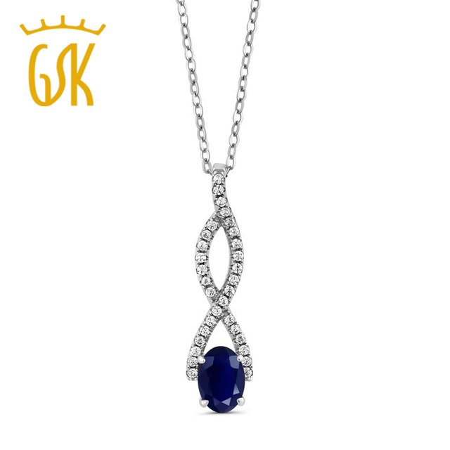 GemStoneKing Vintage 925 Prata Esterlina Jóias Finas 1.40 Ct Oval Azul Safira Natural Pingente Infinito Para As Mulheres