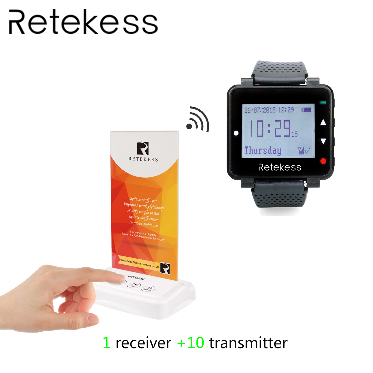 RETEKESS Pager System For Restaurant Wireless Calling Paging System Table Card Pagers 1 Watch Receiver + 10 Transmitter ButtonRETEKESS Pager System For Restaurant Wireless Calling Paging System Table Card Pagers 1 Watch Receiver + 10 Transmitter Button