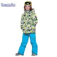 Новый зимний лыжный теплый костюм из флиса лыжный костюм для мальчиков из водонепроницаемой куртки и комбинезона зимняя детская лыжная оде