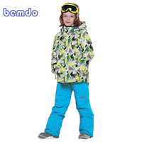 new Winter Fleece Warm Ski Suit Boys Waterproof Mountain Skiing Jacket Coat + Bib Pants Children Kids Snowboard Snow Clothing