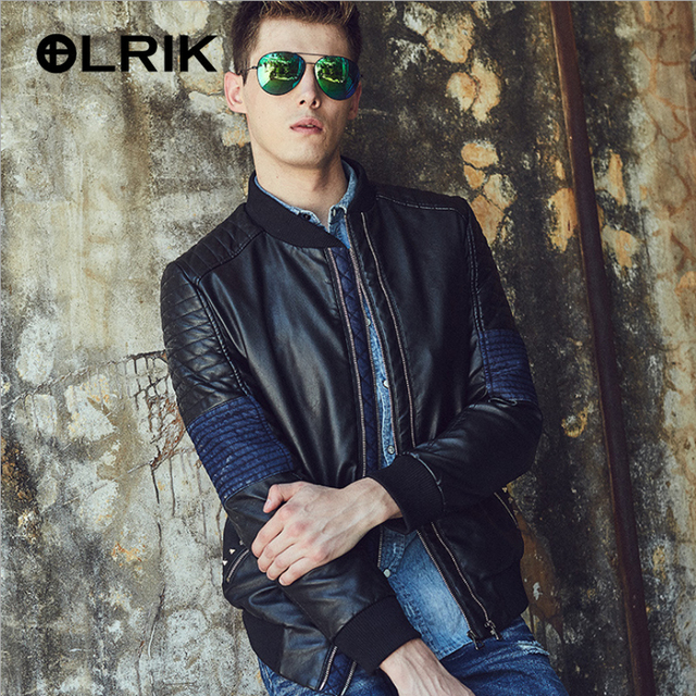 OLRIK 2016 Punk Style Casual Padded PU Jacket Outerwear Suede Leather Jacket M-3XL Brand Men Winter PU Leather Jackets Coat