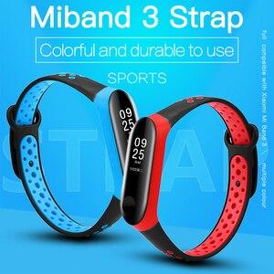 Image 2 - BOORUI correa para xiaomi mi band 3, correa de silicona transpirable de doble Color para pulsera inteligente mi band 3 y mi band 3