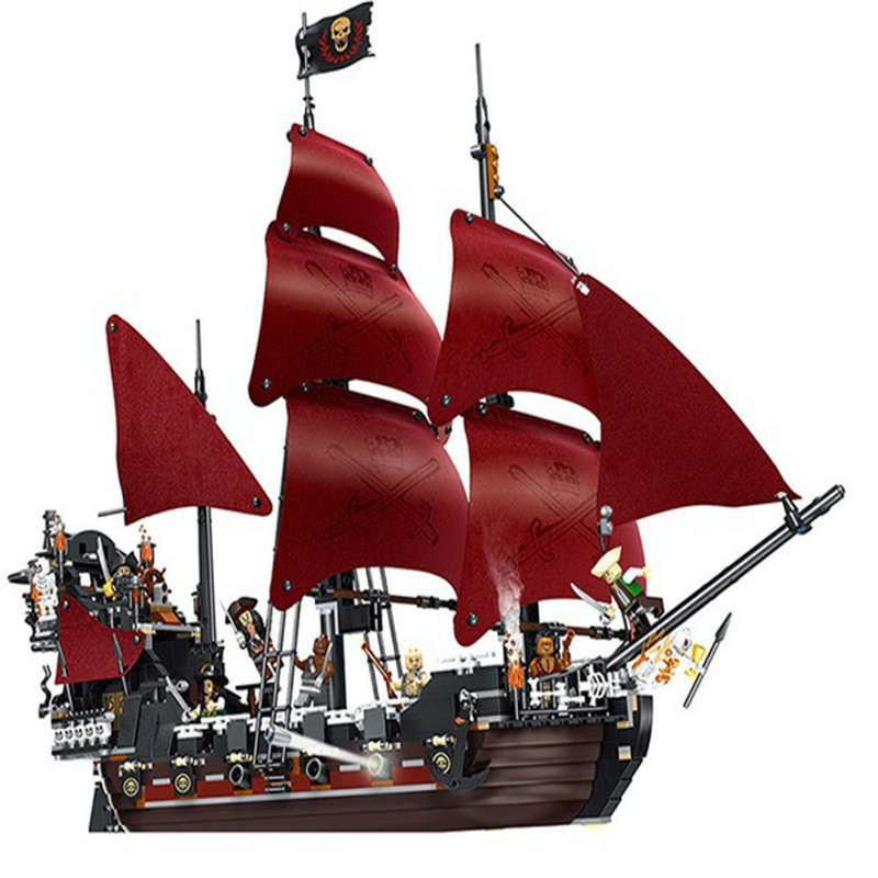 New LEPIN 16009 1151pcs Queen Anne's revenge Pirates of the Caribbean Building Blocks Set Compatible with 4195 Children DIY gift lepin 16009 caribbean blackbeard queen anne s revenge mini bricks set sale pirates of the building blocks toys for kids gift