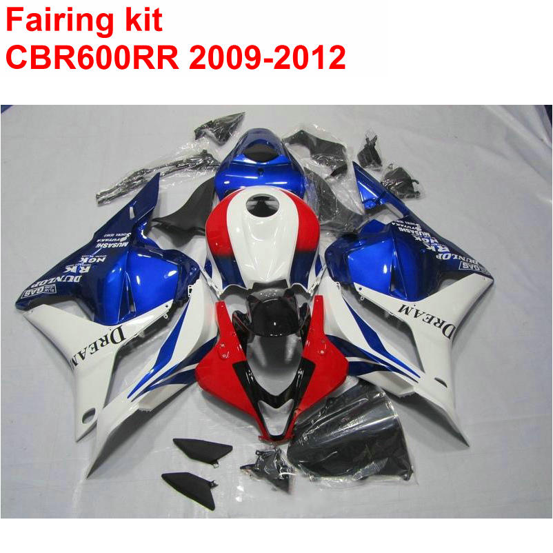Injection molding HOT Fairing kit for HONDA cbr600rr 2009 2010 2011 2012 CBR 600 RR 09-12 blue red white ABS fairings set LK37 sela sela se001ewiti24