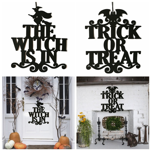 Diy Letter Halloween Witch Hanging Door Decorations Pumpkin Glass Wall Signs Party Home Decoration Halloween Holiday Accessories