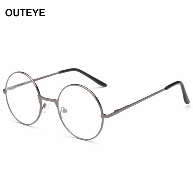40f39ae1ad2 OUTEYE Vintage Round Reading Glasses Metal Frame Retro Personality College Style  Eyeglass Clear Lens Eye Glasses