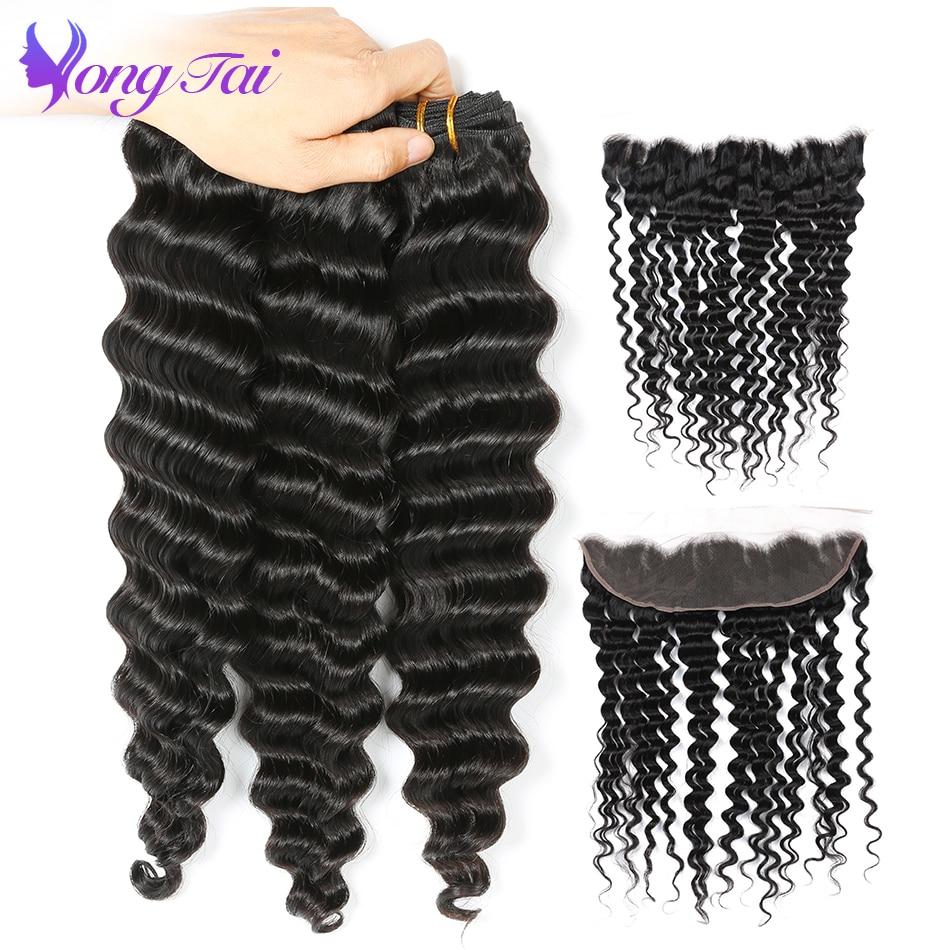Yongtai włosy głęboka fala włosów 3 wiązki z Frontal pasma peruwiańskich falowanych włosów z zamknięciem nie Remy 100% ludzki włos darmowa wysyłka w 3/4 pasma z siateczką od Przedłużanie włosów i peruki na AliExpress - 11.11_Double 11Singles' Day 1