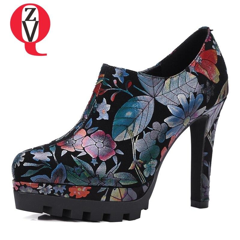 ZVQ national style grind arenaceous graceful curve design side zipper women pumps platform manual high heels thin shoes graceful women s pumps with beading and platform design