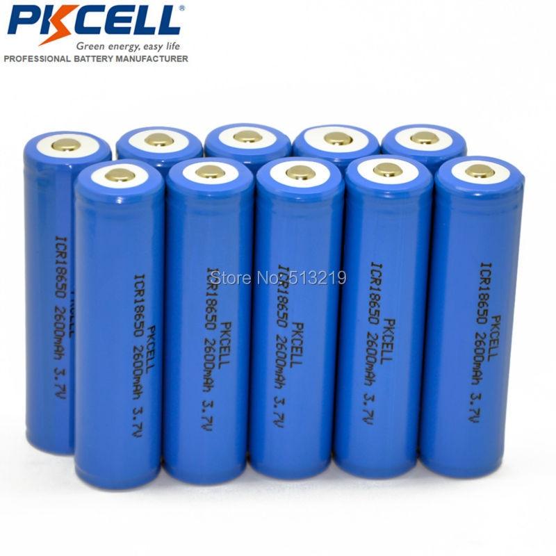 10 X Liion Аккумуляторы ICR18650 2600 мАч 18650 Batteria Топ на пуговицах нет защиты литий-ионный Батарея