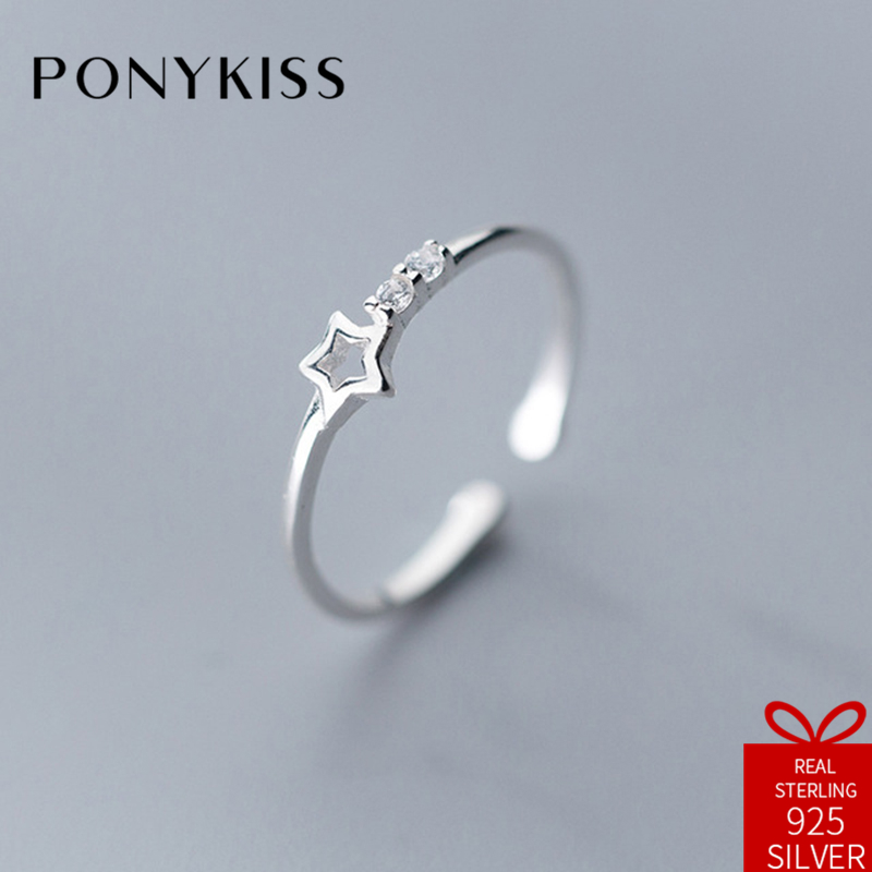 PONYKISS Cute 100% 925 Sterling Silver Resizable Opening Star Zircon Ring Fine Jewelry Women Engagement Creative Gift