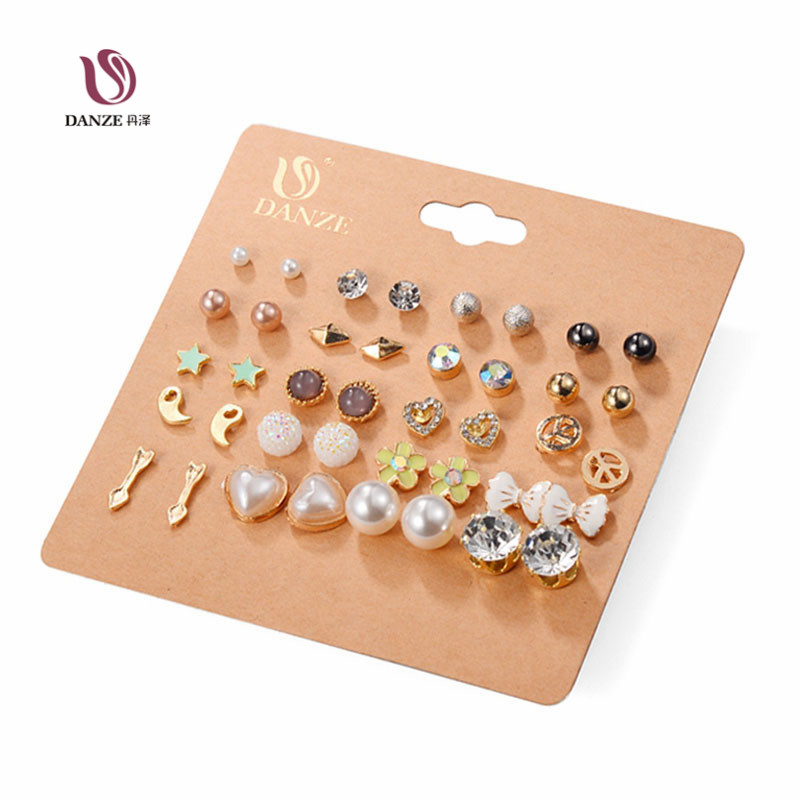 DANZE 20 Pairs lot Punk Fashion Stud Earrings Set For Women Elegant Mixed Crystal Flower Bow