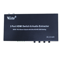 Wiistar 2016new Style 3 Port Switch HDMI MHL Audio Extractor SPDIF RCA Stereo Out Puts Whith