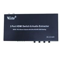 Wiistar 2016new styl 3 Portowy Przełącznik HDMI MHL SPDIF Audio Extractor/RCA stereo out stawia whith oltra ARC HD sotting EDID