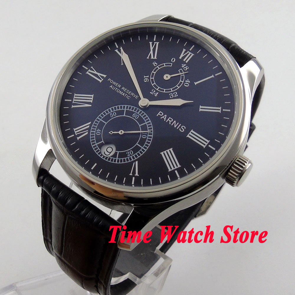 Parnis 43mm black dial silver hands Roman Numerals Power reserve black Leather Strap Automatic movement mens watch 198 blackhawk field operator watch with black numerals