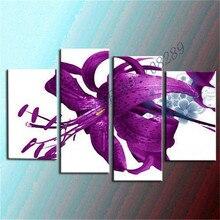 Flor púrpura Pintura Mural pintado a Mano Pintura Al Óleo Del Arte Abstracto de la Lona Pintura Al Óleo Moderna Decoración Arte de La Pared Imágenes