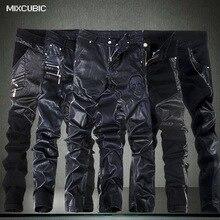 MIXCUBIC, модные обтягивающие кожаные брюки с черепом, мужские повседневные обтягивающие кожаные брюки с отворотом, Мужские штаны, 28-36