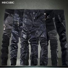 MIXCUBIC skinny skull Spliced casual slim fit washing Locomotive leather pants men