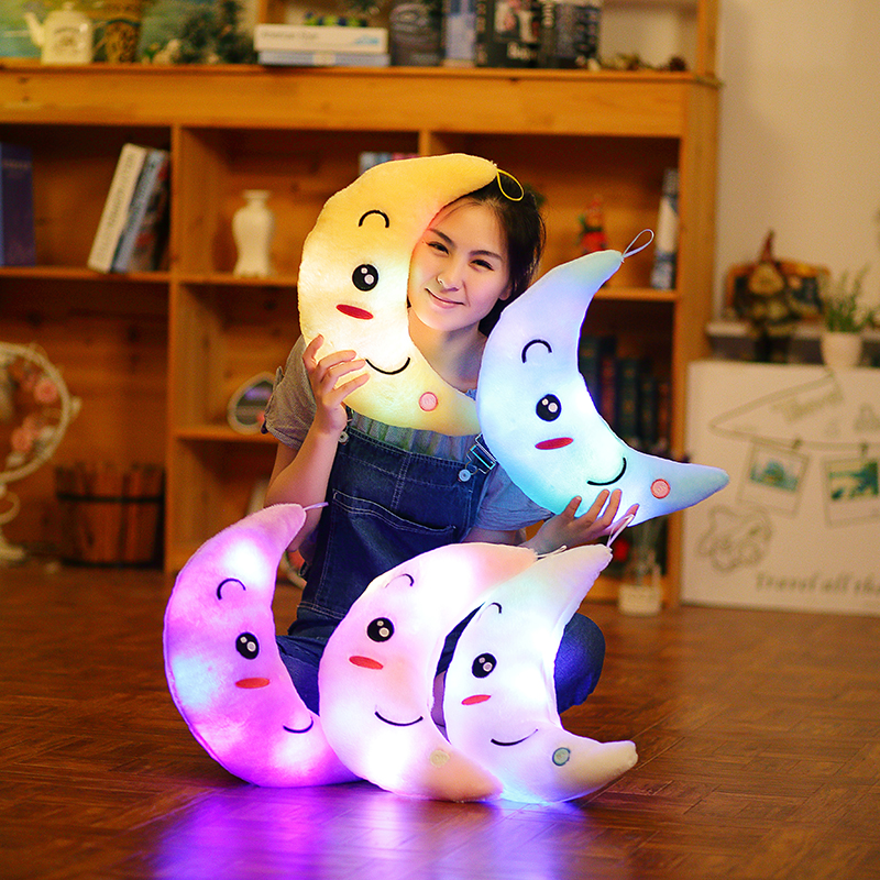 LREA hot sale Moon cushion Plush Toys Cute Luminous CUSHION Toy Led Light Pillow Glow in Dark Plush Pillow for Children Kids