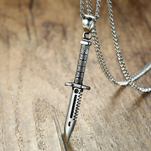 Supernatural Sword Dagger Knife Necklace Pendant for Men Stainless Steel Male Bike Jewelry(China)