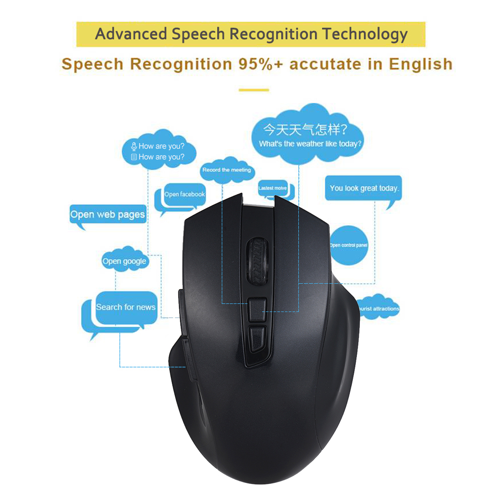 2.4G Wireless Smart Voice Mouse EN CN Speech Translate/Type/Search Enter Key pc mice for Windows 7/8/10 Computer Laptop office 2018 new 1600dpi artificial intelligence wireless voice mouse support voice input for business office home computer notebook
