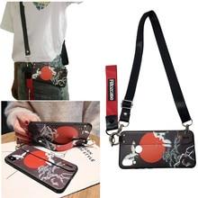 Red-crowned crane shoulder strap silicon case for xiaomi mi A2 8 9 A1 redmi note 7 6 5 pro cover wristband holder soft shel