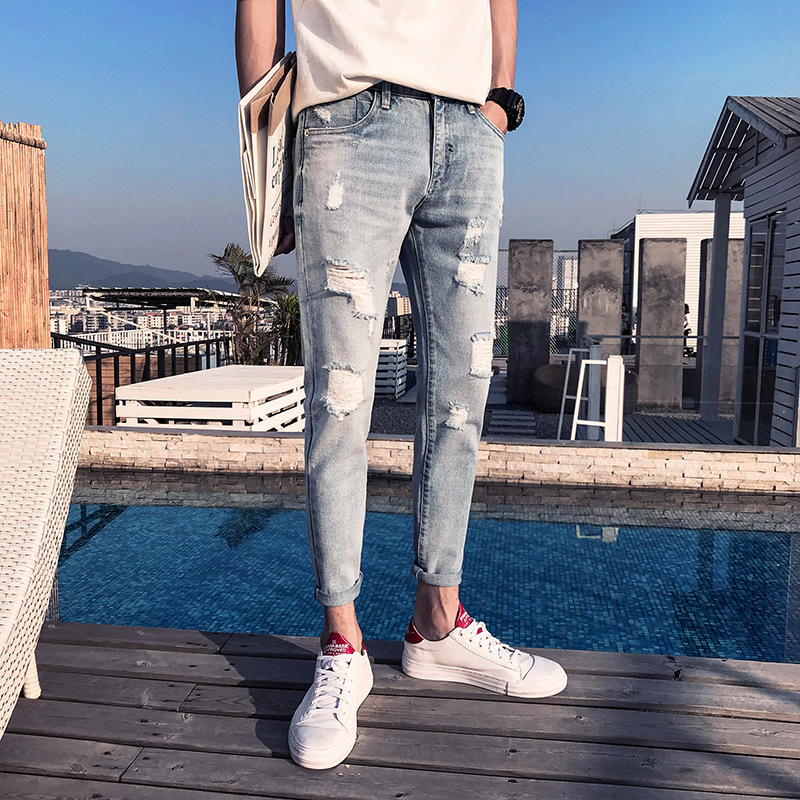 2018 summer trend hong kong wind breaks holes, feet pants ground white cat whiskers mens fashion jeans mens