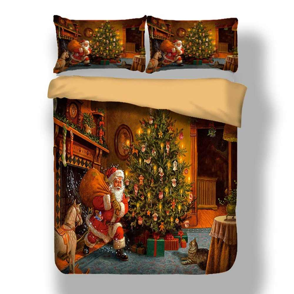 Merry Christmas Bedding Set 3D Santa Claus Printed Duvet Cover Set for Kids Teens Adults