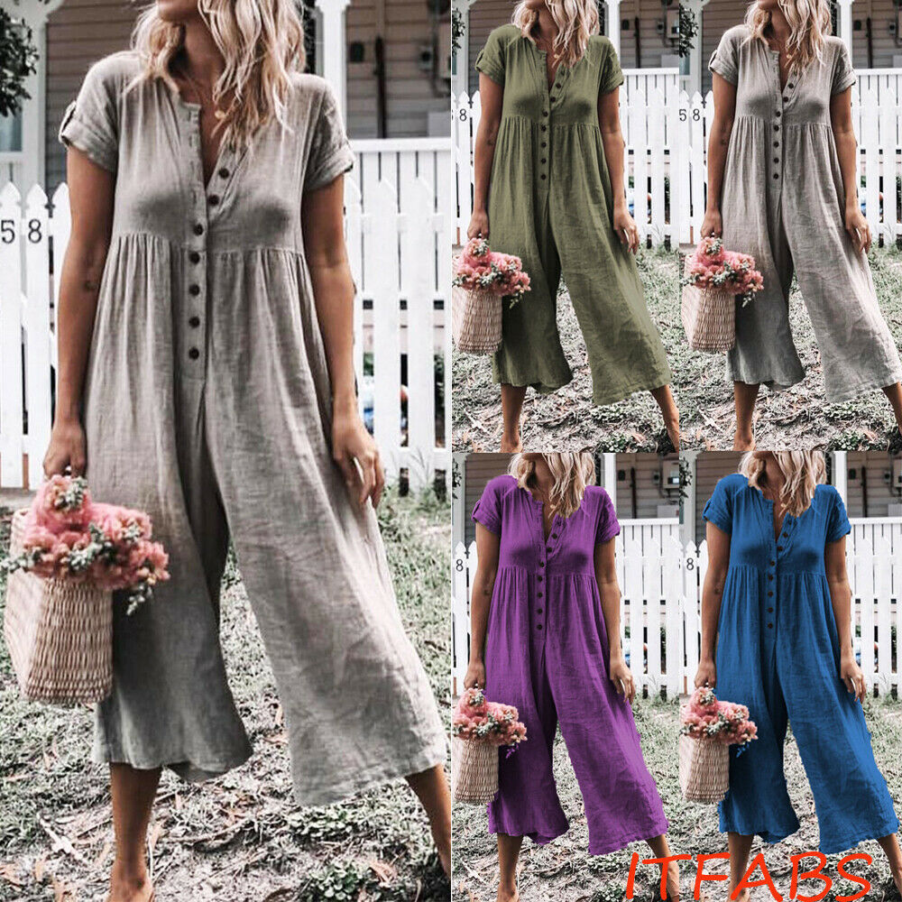 2019 New Women's Button Short Sleeve Jumpsuit Playsuit Summer Fashion Casual Loose Rompers Long Trousers 4 Colors HOTSell