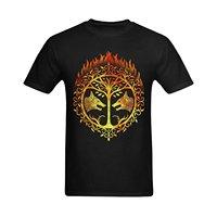 Print T Shirt Summer Style Crew Neck Men Flesiciate Men Bright Flaming Destiny Iron Banner Design