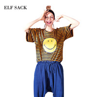 ELF SACK 2018 Women Summer Striped Smiley Prints Tops Tee Shirts Female Loose Casual O Neck