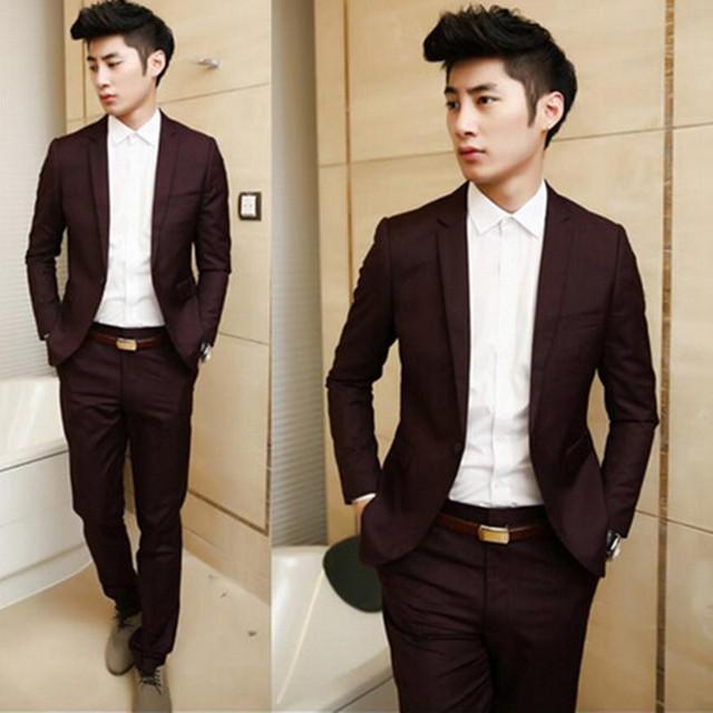 Nuevo Otoño 2015 de los hombres de alta calidad trajes de negocios blazer/calidad del Macho slim fit traje de dos conjuntos/los pantalones chaquetas + suit