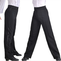 Professional Boys Ballroom Latin Dance Pants Satin Ribbon On Side Panel Tango Dance Trousers BLack Spandex