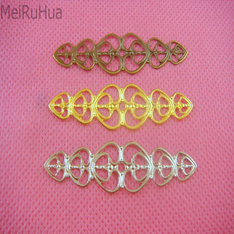 20 pieces/lot 5.5cm Love Heart metal Filigree Flower Wrap Connector Jewelry DIY Components