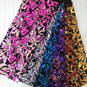 Image 2 - Tissu africain en dentelle, robes de soirée, dentelle, velours violet, verte, paillettes, tissu de haute qualité, 2018