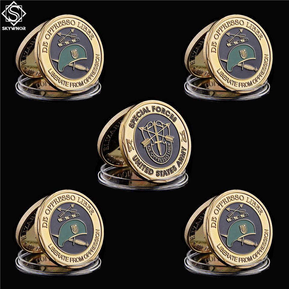 5PCS Special Forces Group Green Berets De Oppresso Liber Liberate From Oppression USA Army Military Challenge Coin Collectible