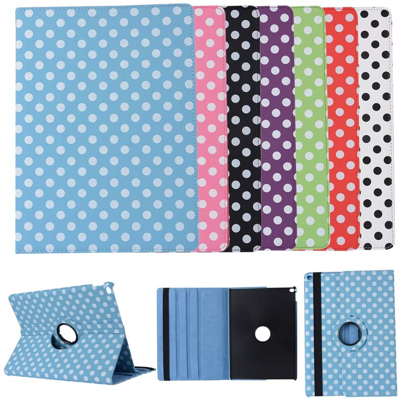 Ultra Slim Polka Dot 360 Degree Rotation Flip Stand PU Leather Stand Holder Pouch Case Cover For Apple Ipad Pro 12.9 inch Tablet flip left and right stand pu leather case cover for blu vivo air