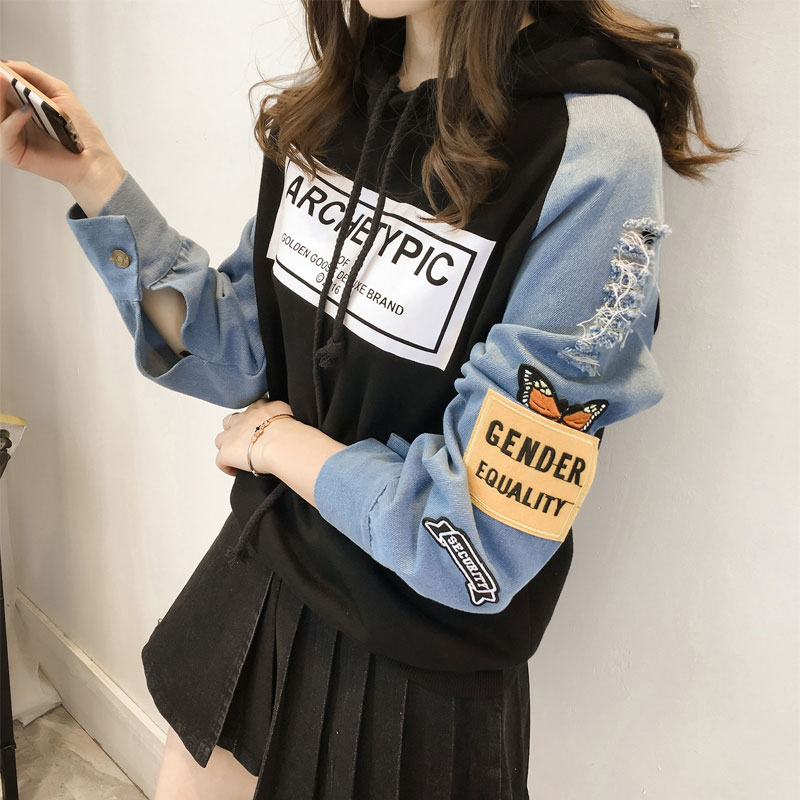 Plus Size M-3XL Woman Ripped Denim Hoodies Korean Long Sleeve Pullovers Letter Print Cartoon Sweatshirt Embroidery Hoodies