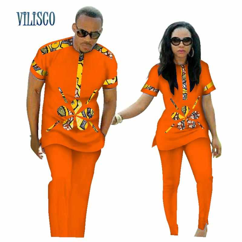 fd0400a4d7 ... Summer African Print Top and Pants Sets for Couple Clothing Bazin Riche  Sweet Flower Patter 2 ...