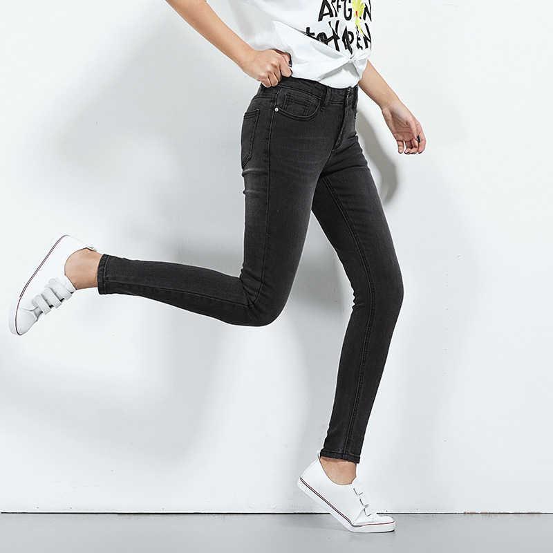 Leijijeans 2019 Plus Ukuran Hitam Pinggang Menengah Warna Penuh Panjang Di Cuci Wanita Kurus Stretch Jeans dan Cool Jeans 5616