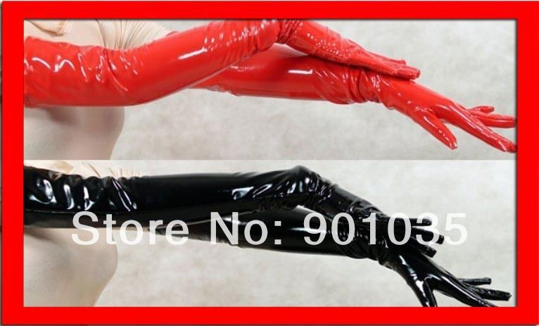 FREE SHIPPING NEW WOMEN GIRL SEXY BLACK RED PVC LEATHER LOOK SHINING LONG GLOVES CLUB DANCE pvc costume leather lingerie image
