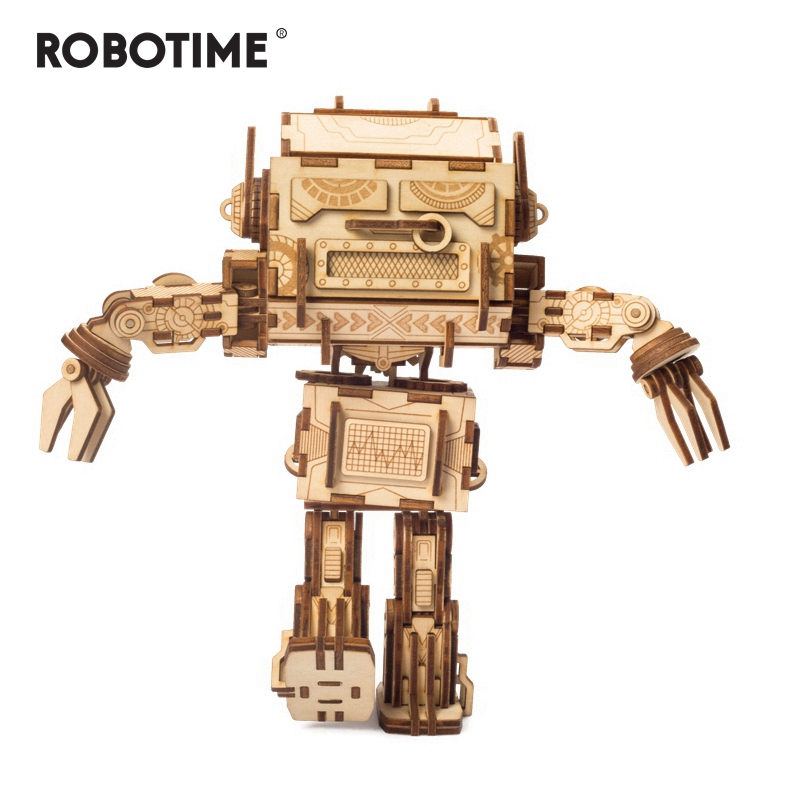 Robotime 2019 New Arrival 212pcs Diy Wooden Twerking Robot Puzzle Game Assembly Toy Gift For Children Adult Dzu02